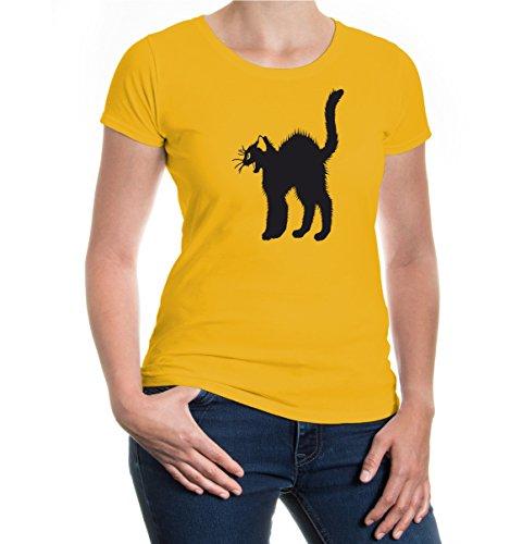 Girlie T-Shirt Arched Back Cat sunflower