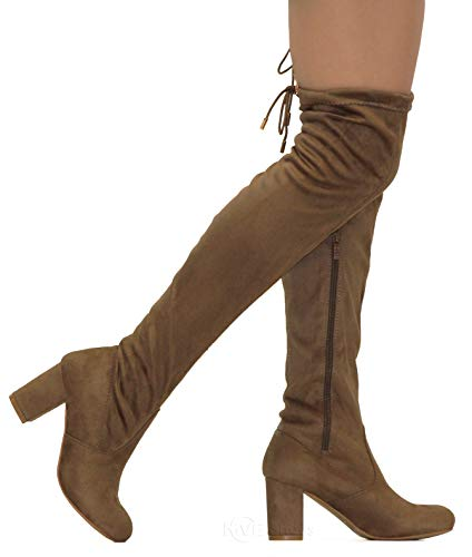 High Skirts Boots Knee (MVE Shoes Women's Thigh High Over The Knee Adjustable Fit - Suede Low Heel Boot, Bonita-02 Taupe Suede 8)