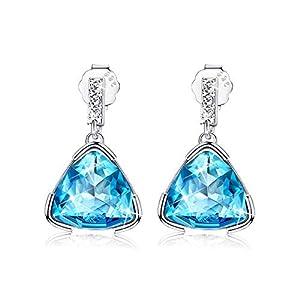 KesaPlan Blue Swaovski Crystal Triangle Earrings Small Drop Earrings for Women, Geometric Crystal Sterling Silver Stud…