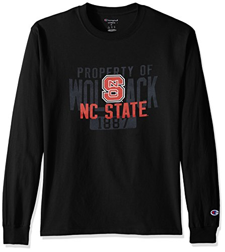 Champion NCAA Men's Long Sleeve Lightweight T-shirt Officially Licensed 100% Cotton Tagless Tee NC State Wolfpack Medium - North Carolina State Wolfpack Light