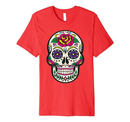 Sugar Skull Costume Male (Mens Flower Sugar Skull Costume TShirt Sugar Skull Costume Plus S Medium Red)