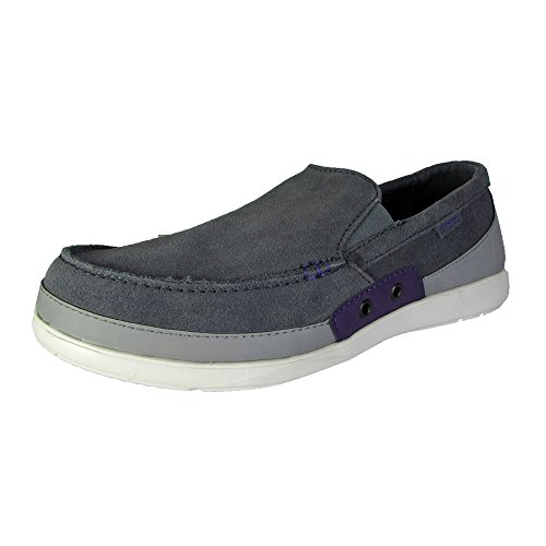 Crocs Mens Walu Accent Suede Loafer Shoes, Charcoal/Royal Purple, US 7