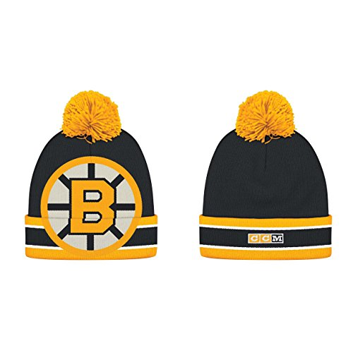 Boston Bruins Adult CCM Cuffed Pom Knit Beanie – Black , – Sports Center Store