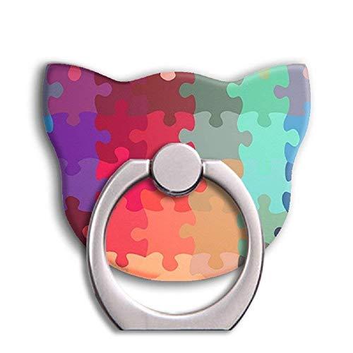 Universal Phone Ring Bracket Holder,Cat Shape Finger Grip Stand Holder Ring Car Mount Phone Ring Grip Smartphone Ring Stent Tablet (Rainbow)