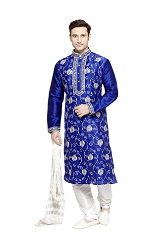 itsindiancrafty Indian Kurta Pajama Set For Men Wedding Festival Partywear In Royal Blue Dupion Silk by itsindiancrafty