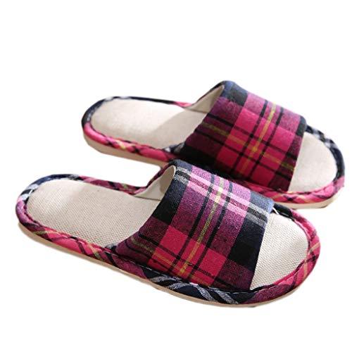 AMINSHAP 38EU Coton Pantoufles modèles Red rayées Pantoufles Taille féminins Quatre 37 Orange Saisons et en Lin Couleur rxTrIqY