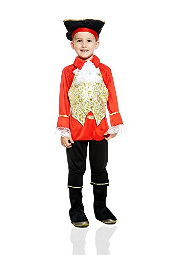 Kids Boys Flag Officer Costume Colonial General Royal Navy Fleet Admiral Cosplay (3-6 years, Red / White / Black)