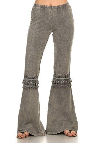 - Chatoyant Women's Tassel Bell Bottom Stretch Yoga Pants (Small, Dark Grey)