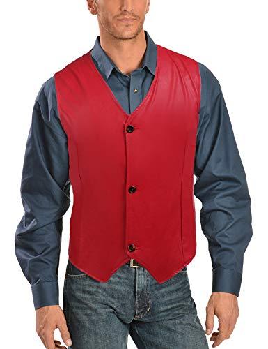 Zuckerfan Men's Leather Vest V-Neck Sleeveless Fashion Motorcycle Racer Riding Button Vest(Red,S)