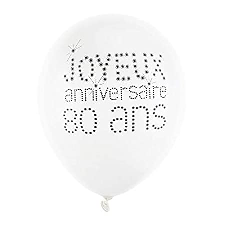 Chal - Globo feliz cumpleaños blanco 80 años x 8: Amazon.es ...