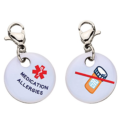 Medication Allergies Snap-On Bracelet Charm-Parent (Stainless - Id Square My