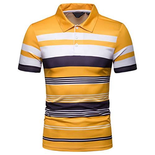 xxl De Tamaño Hombre Fit shirt Camisa Manga Con T M Rayas Para Gran 45 Zarlle Amarillo Corta Slim qw8Xx0n0Sv