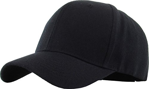 Velcro Adjustable Baseball Cap - KBY-2361 BLK Plain Solid Baseball Cap Adjustable Velcro Closure Unisex Hat