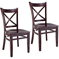 Beechwood Mountain BSD-106SS-Dm Solid Beech Wood Side Chairs in Dark Mahogany with Wood Seat for Kitchen & Dining, Set of 2, NA