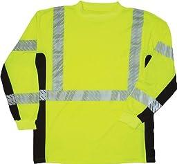 ML Kishigo 9134 Polyester Black Series Class 3 Long Sleeve T-Shirt, Large, Lime