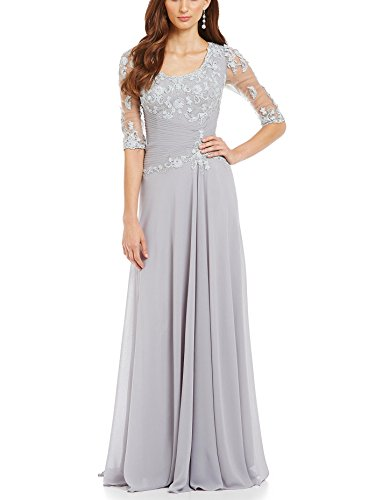 Women's A-Line Half Sleeve Chiffon Mother of The Bride Party Dress