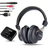 Avantree HT4189 Wireless Headphones for TV Watching w/Bluetooth Transmitter (Digital Optical Aux RCA Pc USB), 40 Hrs Rechargeable Hearing Headset, Plug n Play, No Audio Delay, 100ft Wireless Range