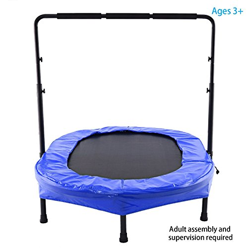 Parent-Child/ Twin Trampoline Mini Rebounder Trampoline with Safety Pad Adjustable Handlebar for Two Kids (blue)