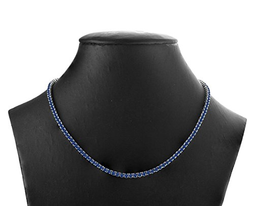 """16 Carat (ctw) 925 Sterling Silver Natural Real Round Cut Blue Sapphire Tennis Necklace For Women 16"""" from Rare Earth Diamond Jewellery"""