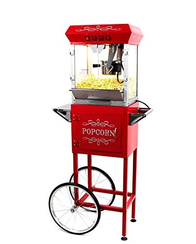Paramount 6oz Popcorn Maker Machine & Cart - New Upgraded Feature-Rich 6 oz Hot Oil Popper [Color: Red]