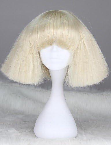 Fashion wigstyle Lady Gaga estilo sin tapa Fashion corto recto Rubio sintético peluca: Amazon.es: Belleza