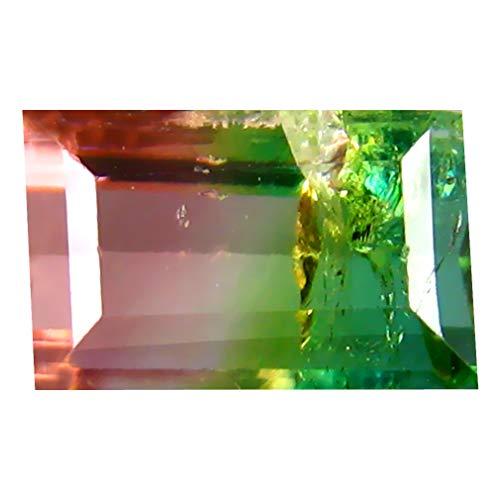 1.35 ct OCTAGON SHAPE (7 x 5 mm) BRAZILIAN BI-COLOR WATERMELON TOURMALINE NATURAL LOOSE GEMSTONE Bi Color Tourmaline Gem