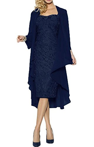 Ruiyuhong Mother of the Bride Dress with Jacket Formal Gowns US14 Navy Blue