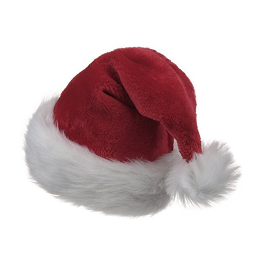 B-Land Traditional Red and White Plush Christmas Santa Hat for Christmas Party Celebration