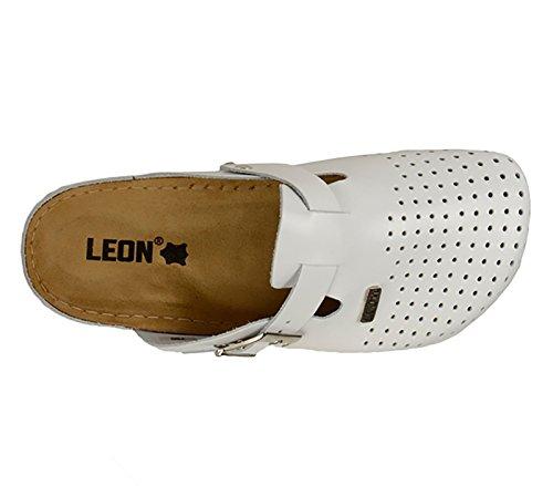 LEON 700 Komfortschuhe Lederschuhe Pantolette Clog Herren Weiß