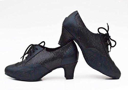 Dance Shoes Closed Synthetic Lace TDA up Salsa Tango Ballroom Toe Black Modern Glitter Latin Women's fqxBO7