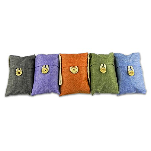 Purify Bamboo Charcoal - Most Effective Natural Deodorizer Bag to Remove Odor Bacteria Allergen Moisture for Kitchen Car Closet Basement Bathroom | Set of 5 pcs | Orange Blue Grey Green Purple | 902.1 (Gas Absorber Fridge compare prices)