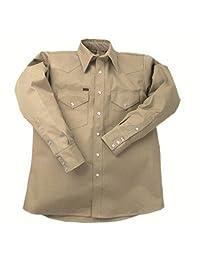 Lapco FR LS-16-L Heavy-Duty Welder's Shirts, 100% Cotton, 10 oz, 16 Large, Khaki