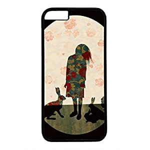 Hard Back Cover Case for iphone 6,Cool Fashion Black PC Shell Skin for iphone 6 with Abstract Art Design - A Girl and a Rabbit