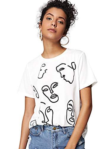 Milumia Women's Funny Print Round Neck Tee Short Sleeve T-Shirt Top M-White XS