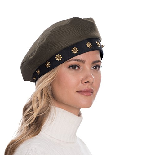 Eric Javits Luxury Fashion Designer Women's Headwear Hat - Saxon - Khaki/Black by Eric Javits