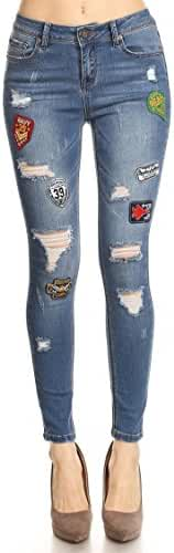 Vialumi Women's Distressed Ripped Skinny Jeans - Many Styles