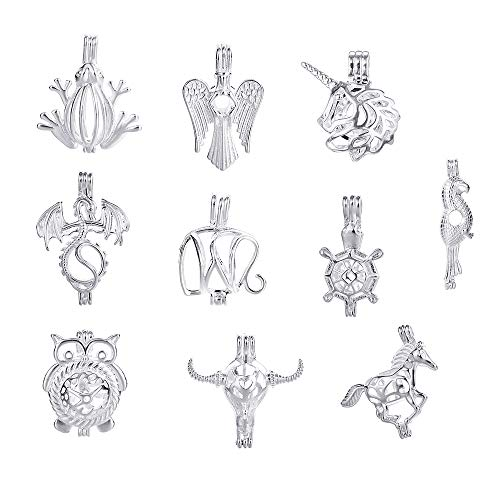 10pcs Pearl Bead Cage Mix Shape Jewelry Making Supplies Dragon Angle Wing Silver Plated Locket Pendants Essential Oil Diffuser Charms for Necklace Bracelet DIY with Lava Stone ()