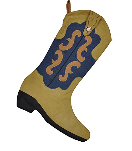Jimmybaby Christmas Boot Stocking Western Cowboy 18'' Gift Kids Fireplace Decor with Embroidered Patern 1pcs by Jimmybaby