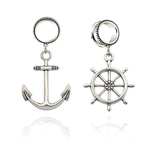 - JIAPEIJIA 6-30mm Anchor Dangle Flesh Tunnel Ear Gauge Plugs Ear Expander Strecher Body Jewelry Piercing Earring (2g(6mm))