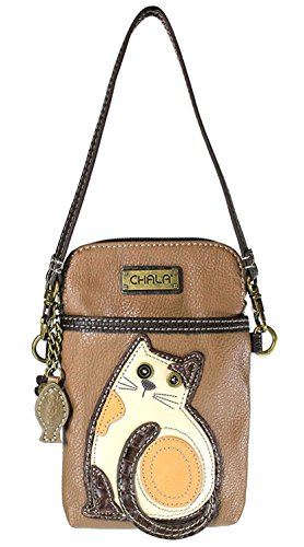 Chala Crossbody Cell Phone Purse - Women PU Leather Multicolor Handbag with Adjustable Strap - Cat - Brown