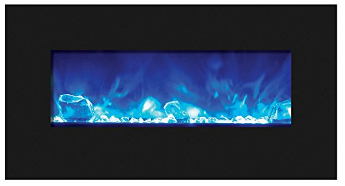 "Amantii 34"" Electric Fireplace with 44"" x 23"" Black Glass Su"