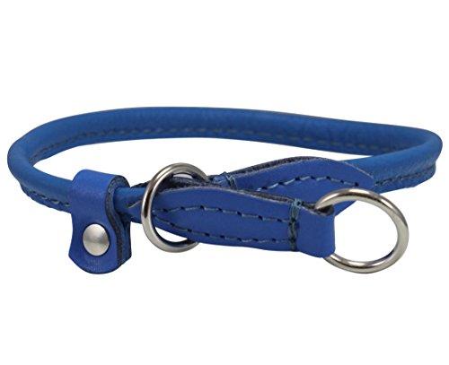 Round Genuine Rolled Leather Choke Dog Collar Blue (20