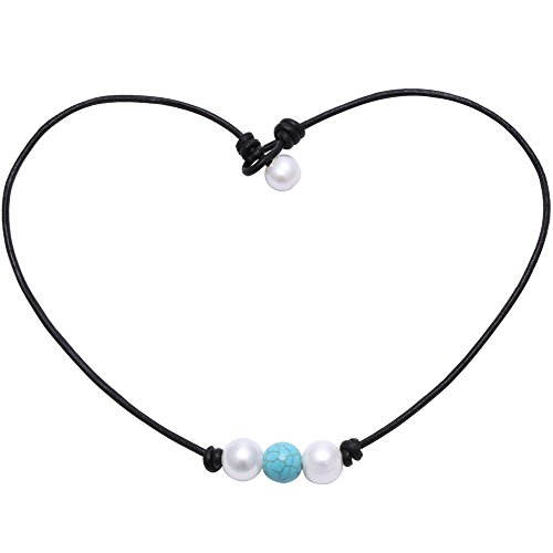 16' Leather Necklace Natural (POTESSA White Pearl and Synthetic Turquoise Beads Necklace Handmade Leather Jewelry for Girls Teens Women Unisex (Black-16''))
