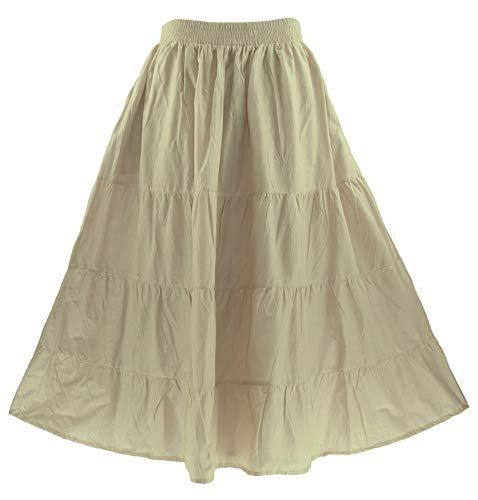 Beautybatik Oat Cotton Boho Gypsy Long Maxi Tier Flare Skirt 2X