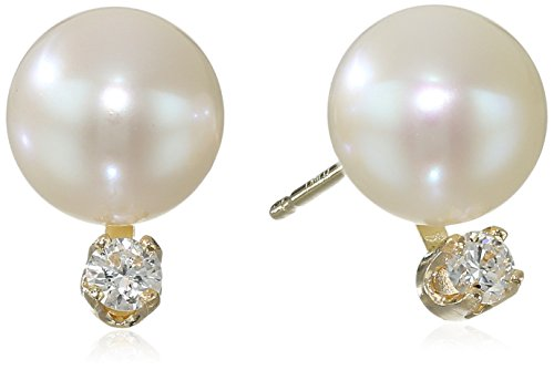 Chinese Cultured Pearl - Bella Pearl Chinese Freshwater Cultured Pearl 7-7.5mm Diamond Stud Earrings (1/10cttw, F-G Color, I1-I2 Clarity)