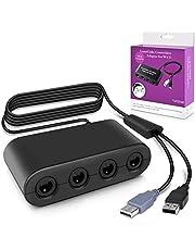 Keten GamecubeController Adapter, AdaptateurManette Gamecube pour SuperSmash Bros Adaptateuravec 4 Portspour Wii U, Nintendo Switch et Ports USB pour PC (Rouge et Blanc)