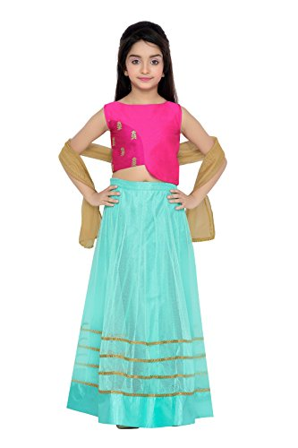 K&U Girls' Pink and Sea Green Art Raw Silk & Net Lehenga Choli