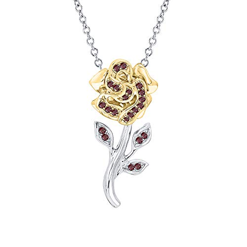 Beautiful Rose Flower Red Garnet Pendant Necklace 18k White & Yellow Gold Over 925 Sterling Silver for Girl's (18k White Gold Garnet Pendant)