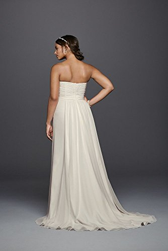 Strapless chiffon sheath plus size wedding dress style 9wg3793 for Plus size sheath wedding dress