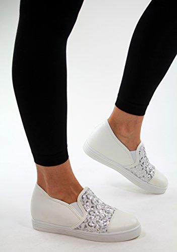 New Womens Casual Sneakers Low Hidden Wedge Heel Trainers Flat Walking Shoes White/Silver AlyCk2U